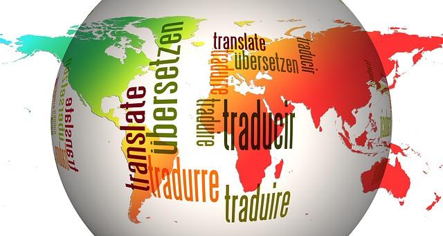 carte du monde avec le mot traduction en plusieurs langues